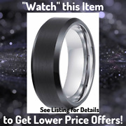 Luxe 8mm Black Tungsten Carbide Mens Wedding Ring Band Size 7 Butch Bands Alpha