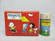1967 Peanuts Charlie Brown,snoopy,lucy,linus Kite Vinyl Lunchbox And Thermos C8.5