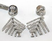 Round Diamond Cluster Leaf Tree Drop Earrings 18k White Gold 1.05ct