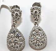 Round Diamond Cluster Pear Shape Drop Ladyand039s Earrings 18k White Gold 2.00ct
