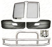 Qsc Bumper Corners Pair + Stainless Steel Deer Guard + Grille For Kenworth T680