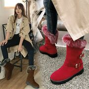 Women Round Toe Faux Suede Thick Warm Fur Ankle Boots Pull On Winter Shoes R5899