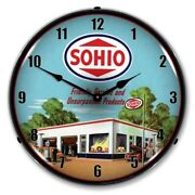 Sohio Gas Service Station Backlit Led Lighted Wall Clock New