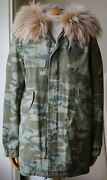 Mr And Mrs Italy Raccoon Fur Trimmed Camo Parka Jacket Small