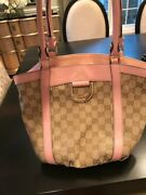 Gold D-ring Gg Monogram Pink And Beige Leather And Canvas Shoulder Bag