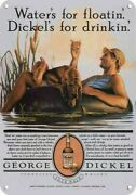 1982 George Dickel Whisky Dickels For Drinkin' Bloodhound Dog Replica Metal Sign