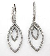 Round Diamond Cluster Marquise Shape Drop Ladyand039s Earrings 14k White Gold .94ct