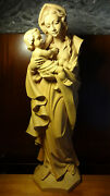 ✞ Large Xl 35 Vintage Hand Carved Wooden Our Lady Mary Madonna + Jesus Statue ✞