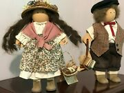 Handcrafted Wooden Lizzie High Dolls Karl And Grace Valentine W/hang Tags