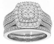 Extra Large 1.10ct Diamond 14kt White Gold 3d Cluster Multi Row Anniversary Ring