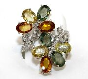 Multi Color Sapphire And Diamond Cluster Flower Leaf Ring 18k White Gold 9.46ct