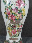 Antique Chinese Famille Porcelain Floral Vase, 2 Blue Rings Marks, 18 Inches