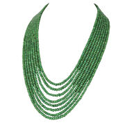 637.00 Carat Natural Emerald Round Shape Cabochon Beaded Necklace In Eight Row