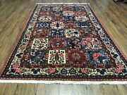 4' 4 X 6' 8 Vintage Hand Made India Floral Panel Wool Rug Hand Knotted Nice