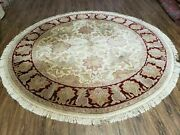 7' Vintage Round Hand Made Indian Agra Wool Rug Tea Washed Veg Dyes Nice