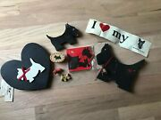 Lot Of Scottish Terrier Scotty Dog Collectibles Wood Box Puzzle Bumper Sticker