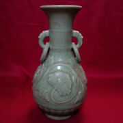 Chinese Antique Song-yuan Longquan Celadon Molded Peony Scroll Vase With Rings