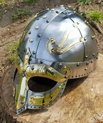 Hand Made Viking Helmet With Brass Face Re-enactors Collectors By Wulflund