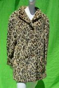Vintage 60's Faux Fur Leopard Coat By Russel Taylor Size M Used Spotted Coat