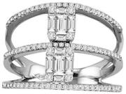 Wide .85ct Diamond 18kt White Gold Round And Baguette Semi Eternity Multi Row Ring