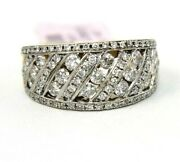 Round Diamond Cluster Slanted Ladyand039s Ring Band 14k Yellow Gold 1.40ct