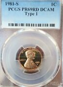 1981-s Usa Lincoln Penny Pcgs Pr69rd Dcam Type 1 Buy Now