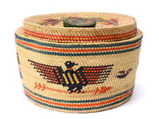 Vintage Makah Large Dragon Covered Indian Basket 6and039and039x10and039and039