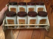 Set Of 8 Vintage Dove White Milk Glass Spice Jars With Paper Labels And Rack