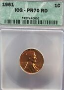 1961 Usa Lincoln Penny Icg Pr70 Rd Luster And Tone A++++++++++++