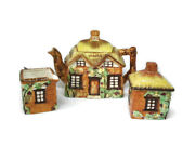 Thatch Roof English Cottage Teapot Cream And Sugar Maruto Mu Ware Occupied Japan
