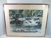 Nice Vintage Signed And Framed Watercolor Painting Fly Fishing James Lacksonen