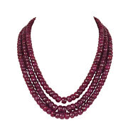 1526.20 Carat Natural African Red Ruby Faceted Beaded Necklace In Three Row