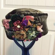 Handmade Olive Green Velvet Pillbox Hat With Fabric Flower Accents And Hatbox Mint