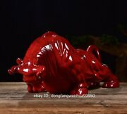 China Porcelain Pottery Handwork Feng Shui Animal Oxen Cattle Cow Bull Ox Statue
