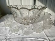 Vintage Fostoria Heavy Pressed Glass Punch Bowl With 9 Glasses