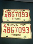 1976 Pair Henry Co Iowa Truck License Plates Chevy Ford Dodge International Ih