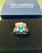 Lia Sophia Maya Ring Style 637 Size 5 Turquoise And Clear Cz New W/ Tags And Box