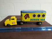Vintage Tin Friction Horse Truck And Traler Sss Tin Toy Friction Lot Japan
