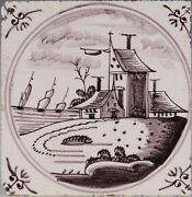 Nice Dutch Delft Manganese Tile Landscape With House And Ships 18th. Century.