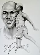 Autographed Michael Jordan 1992 Lithograph Signed Also By Artist Gary Saderup