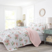 Beautiful Cozy Chic Cottage White Pink Green Shabby Country Rose Soft Quilt Set