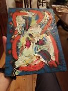 Signed Mid Century Abstract Painting Museum Vintage Quality