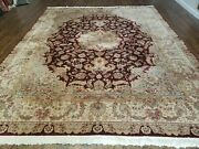 8and039 X 10and039 Vintage Hand Made Chinese Oriental Floral Wool Rug Silk Accent Burgundy
