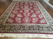 8' X 12' Vintage Hand Made India Floral Oriental Wool Rug Veg Dyes Organic Red