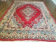 8' X 10' Vintage Hand Made India Kirman Wool Rug Hand Knotted Organic Dyes Red