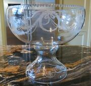 Fostoria Garland 237 Etch Non-optic Large Punch Bowl And Stand