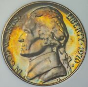 1970-s Jefferson Nickel Proof Cameo Color Bu Unc Flawless Toned Dr