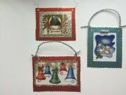 3 Handcrafted Christmas Vintage Card Reproduction Decorations - Handcrafted New