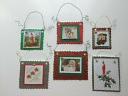 6 Handcrafted Christmas Vintage Reproduction Card Decorations With Hangers New