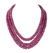 1498.90ct 100 Natural Red Ruby Round Shape Single Row Beaded Gemstone Necklace